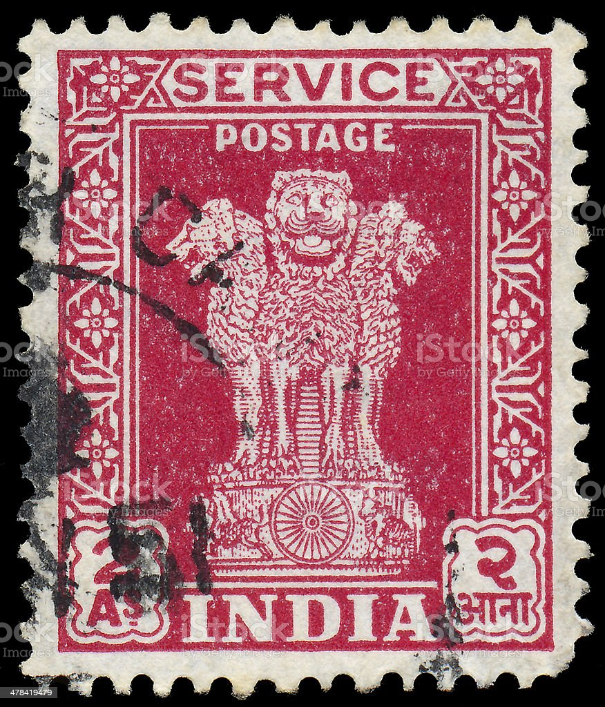 Stamp printed in India, shows Lion Capital of Asoka stock photo