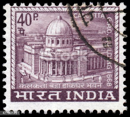 INDIA - CIRCA 1968: A stamp printed in India shows Main Post Office built in 1868 in Calcutta, circa 1968