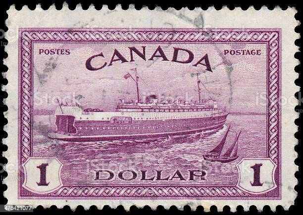 Stamp printed in the Canada shows Train Ferry