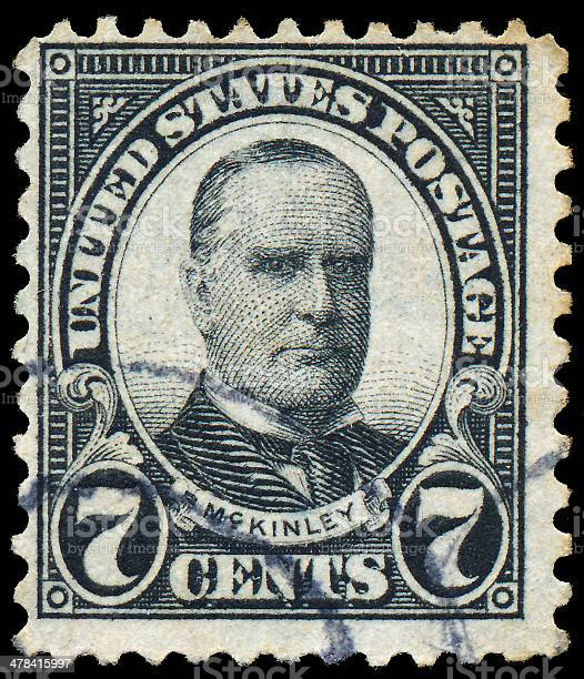 Stamp printed in USA shows President William McKinley