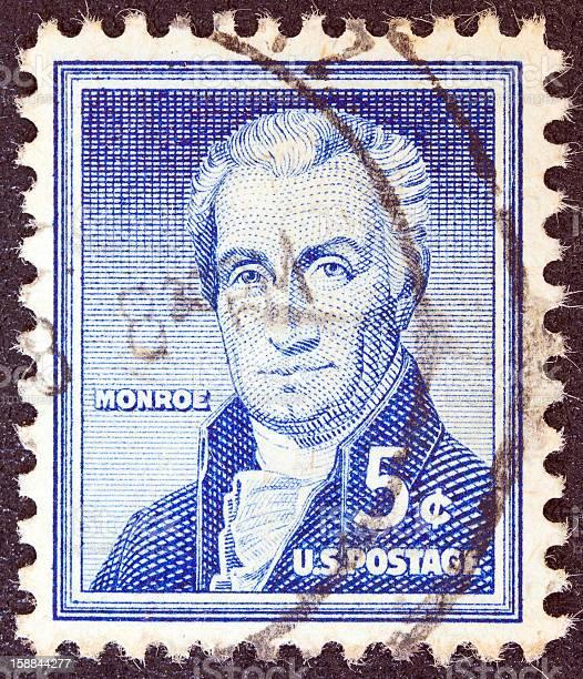 USA stamp shows the fifth President James Monroe (1954)