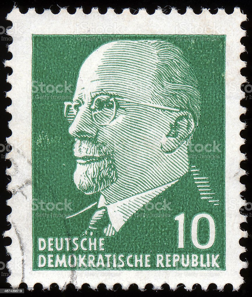 Stamp shows  Walter Ulbricht the leader of East Germany royalty-free stock photo