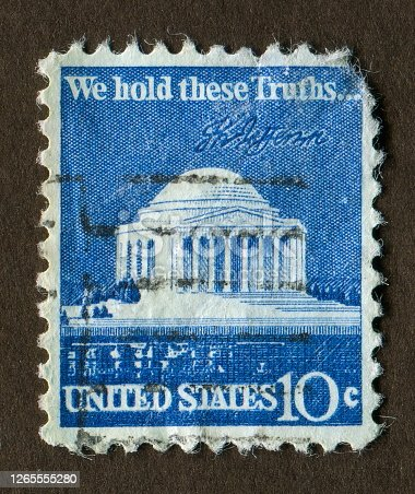 USA stamp: Shows We Hold These Truths, Jefferson Memorial illustration
