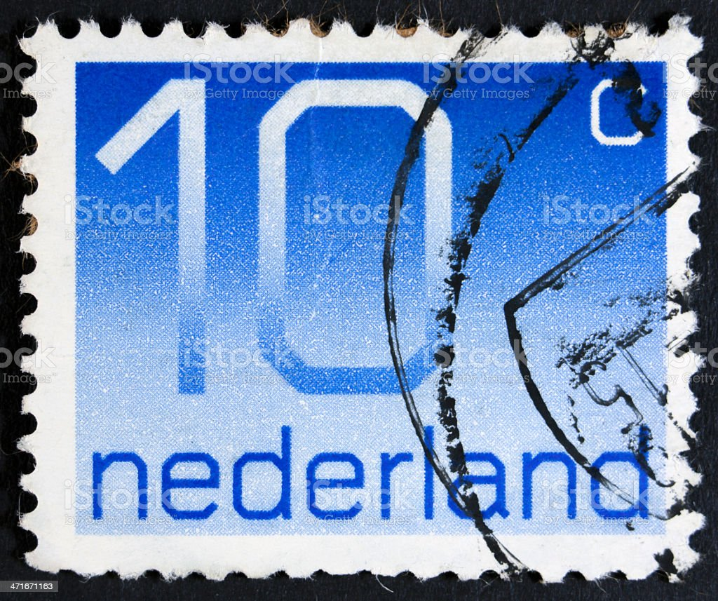 Stamp with a value of ten cents royalty-free stock photo