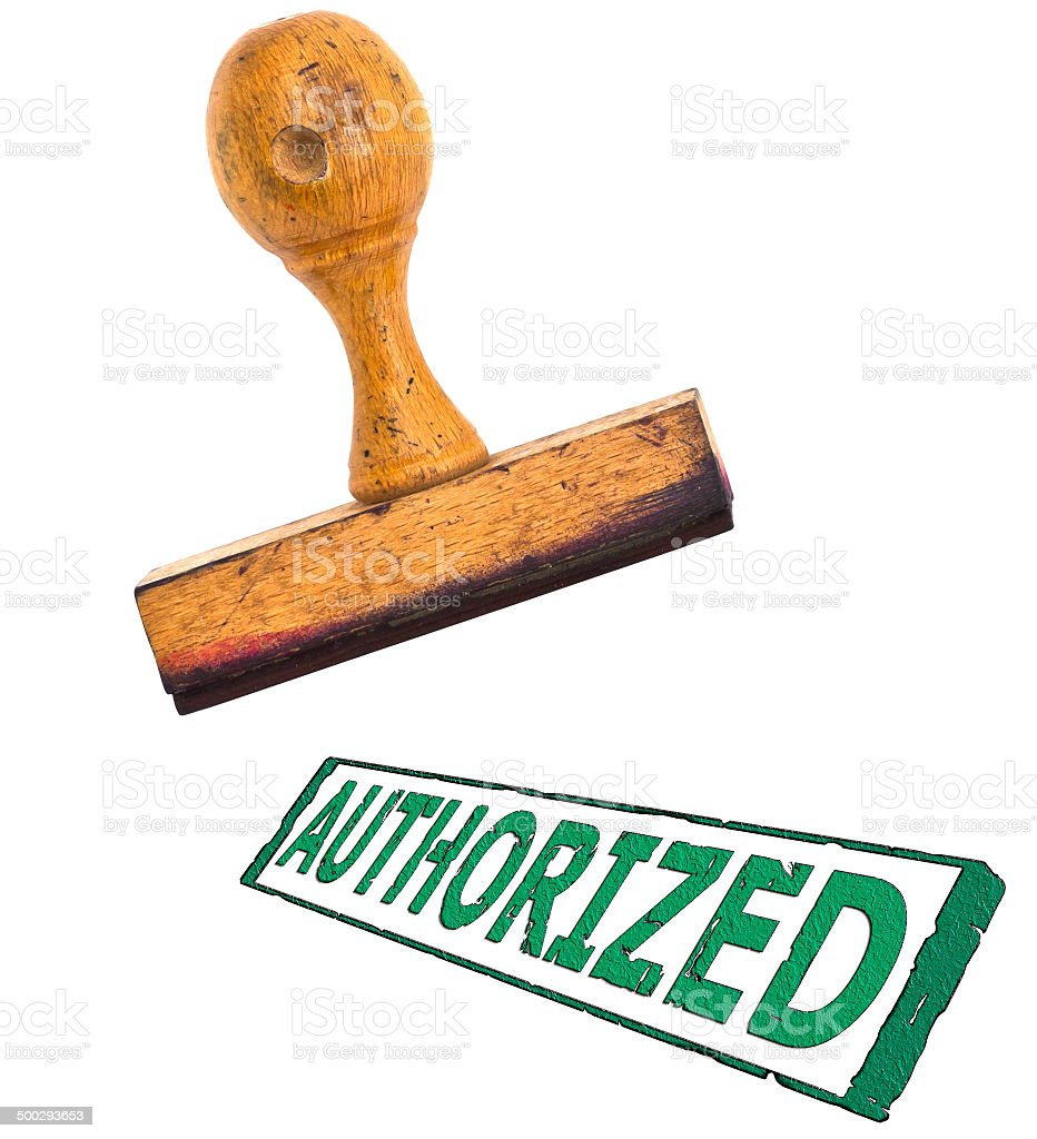 stamp with big message 'Authorized' ; on white separated stock photo
