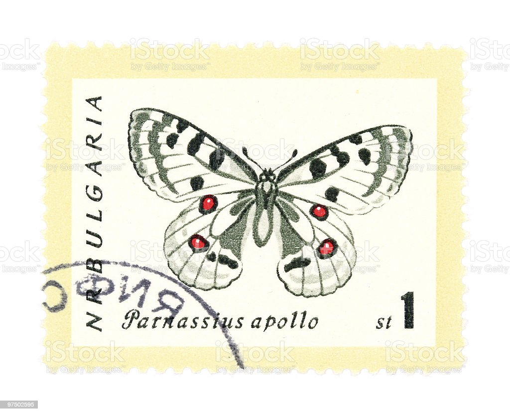 Stamp with butterfly royalty-free stock photo