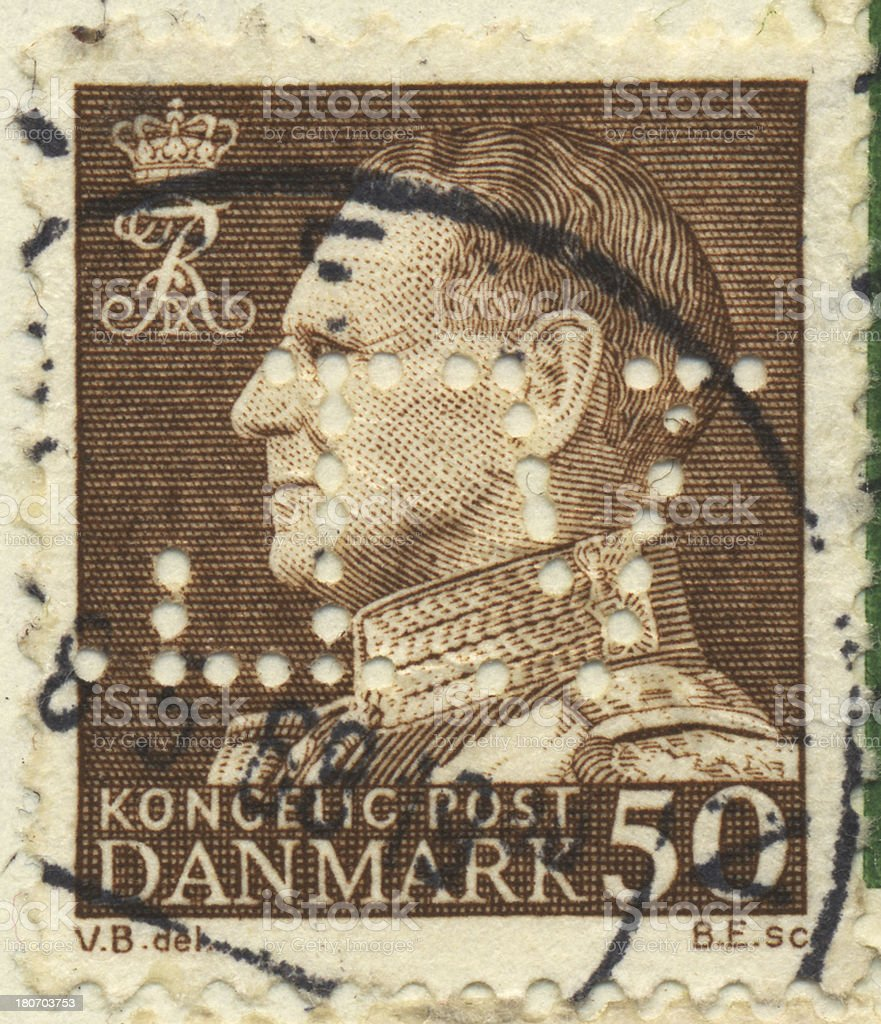 Stamp-Denmark 50 royalty-free stock photo