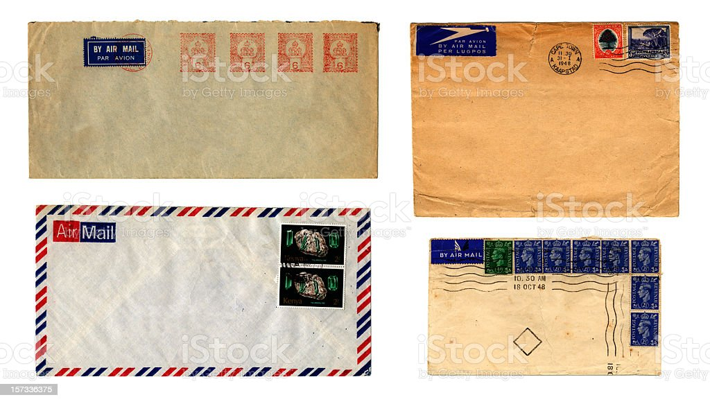 Stamped air mail envelopes royalty-free stock photo