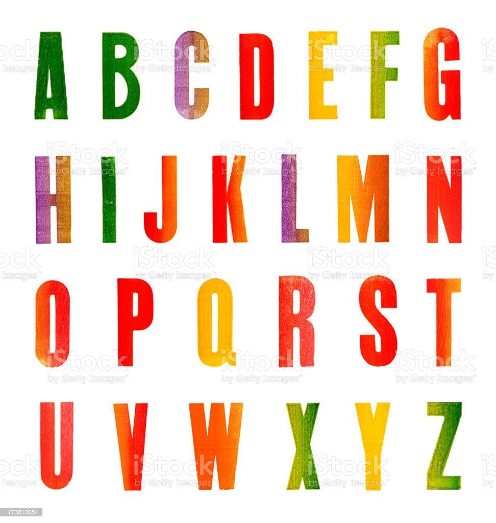 Stamped Alphabet stock photo