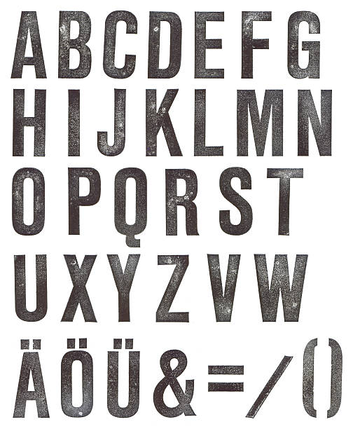 abc - stamped alphabet - stamper stock photos and pictures