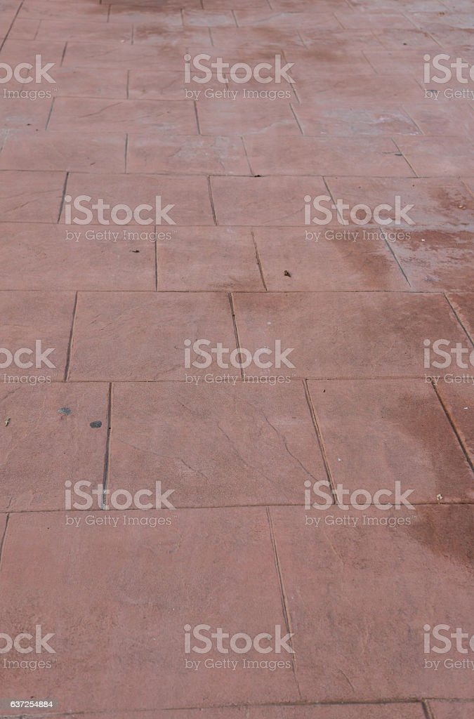 Stamped concrete floor outdoor pavements appearance of natural stone perspective stock photo