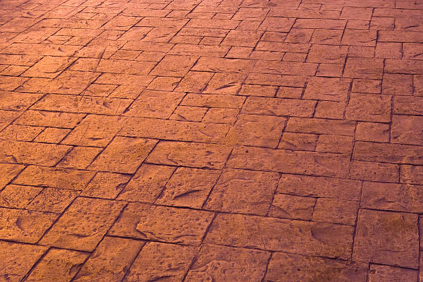 stamped concrete path - stamper stock photos and pictures