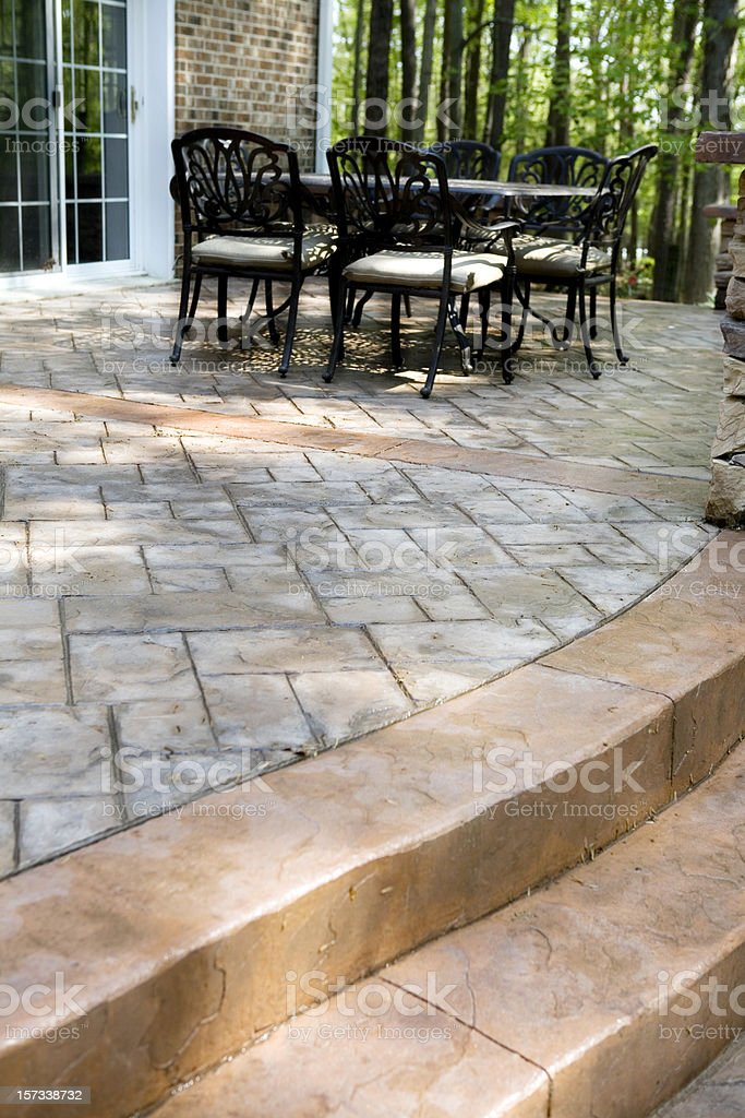 Stamped Concrete Patio and Terrace stock photo