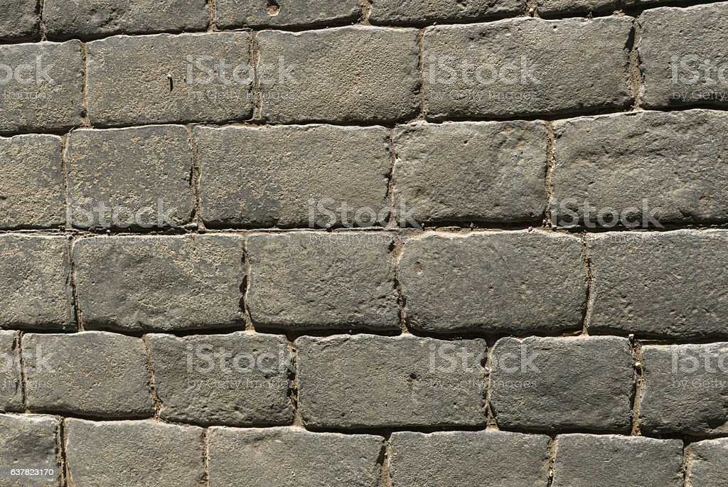 Stamped concrete pavement outdoor, mimics cobblestones pattern, decorative appearance colors stock photo