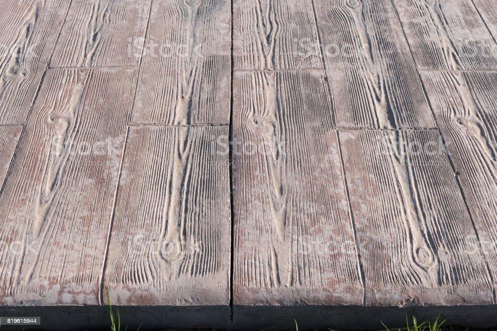 Betondecke Im Freien Gestempelt Lamellen Aus Holz Muster Bodenbelag
