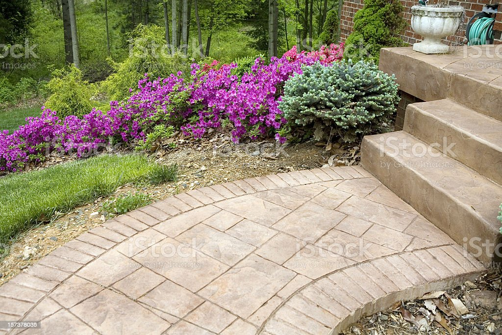 Stamped Concrete Porch and Sidewalk royalty-free stock photo