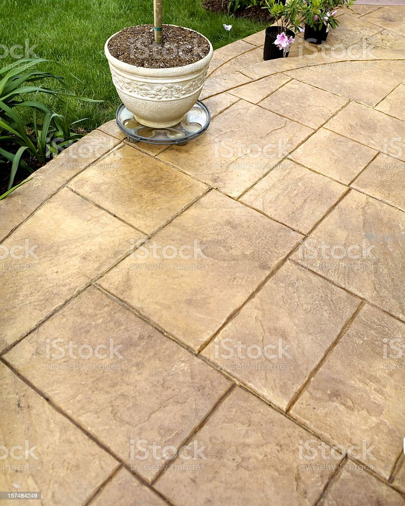 Stamped Concrete Sidewalk and Patio stock photo