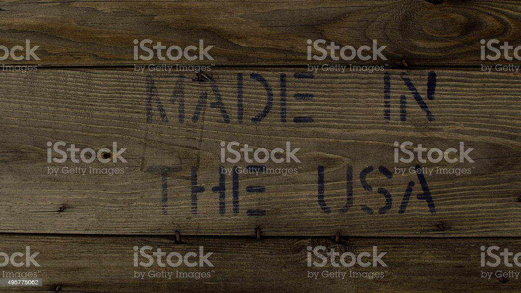 MADE IN THE USA Stamped on Weathered Wood stock photo