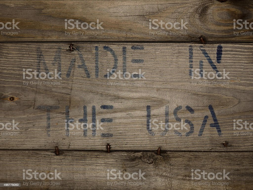MADE IN THE USA Stamped on Wood stock photo