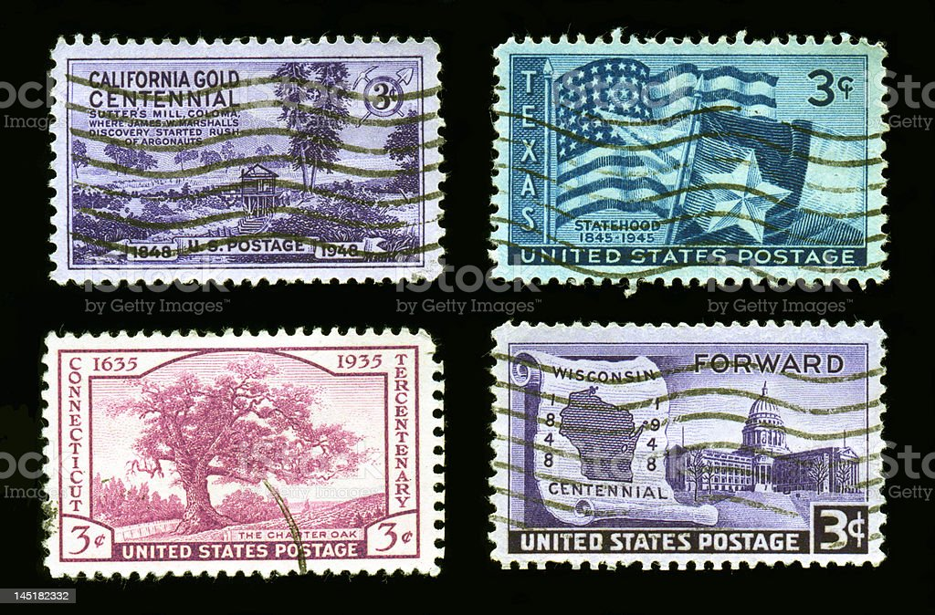 Stamps: California,Texas,Connecticut,Wisconsin stock photo