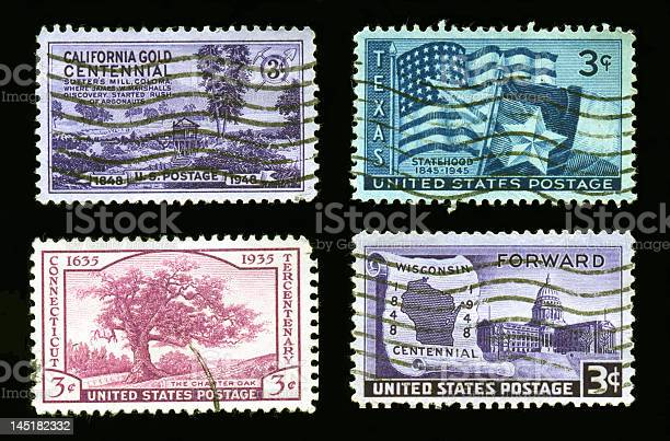 Stamps: California,Texas,Connecticut,Wisconsin