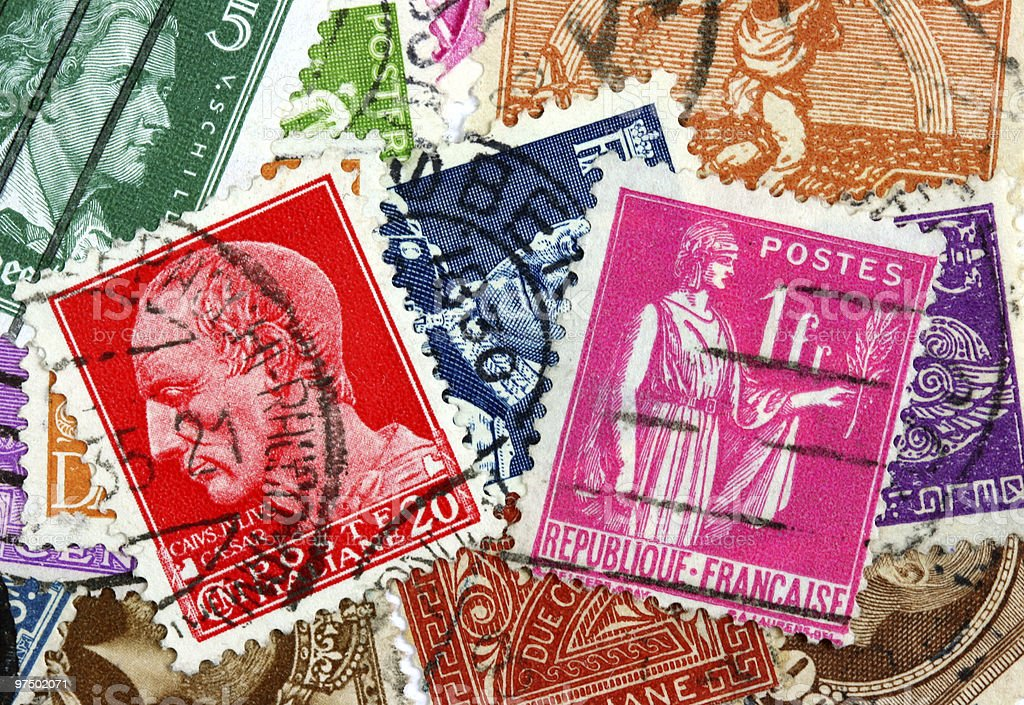 Stamps collection royalty-free stock photo