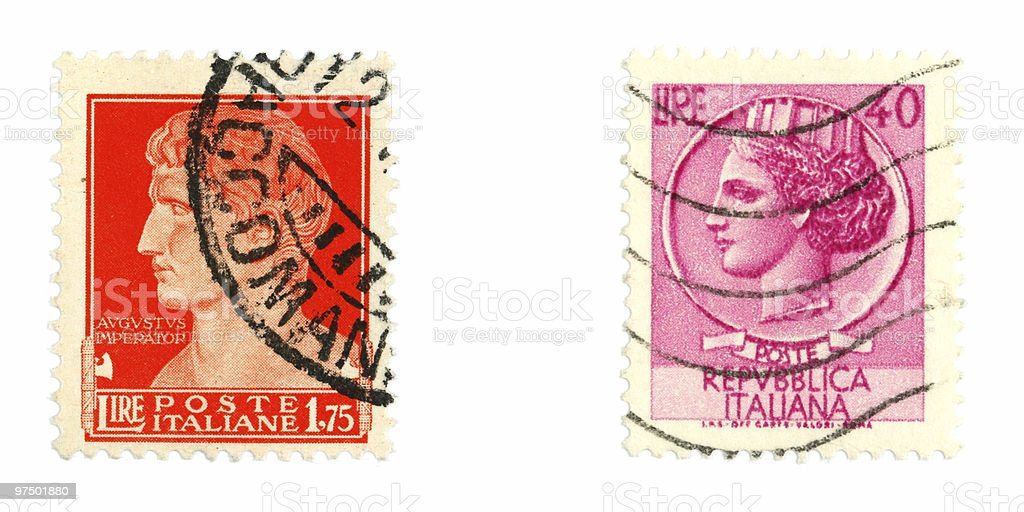 Stamps from Italy royalty-free stock photo