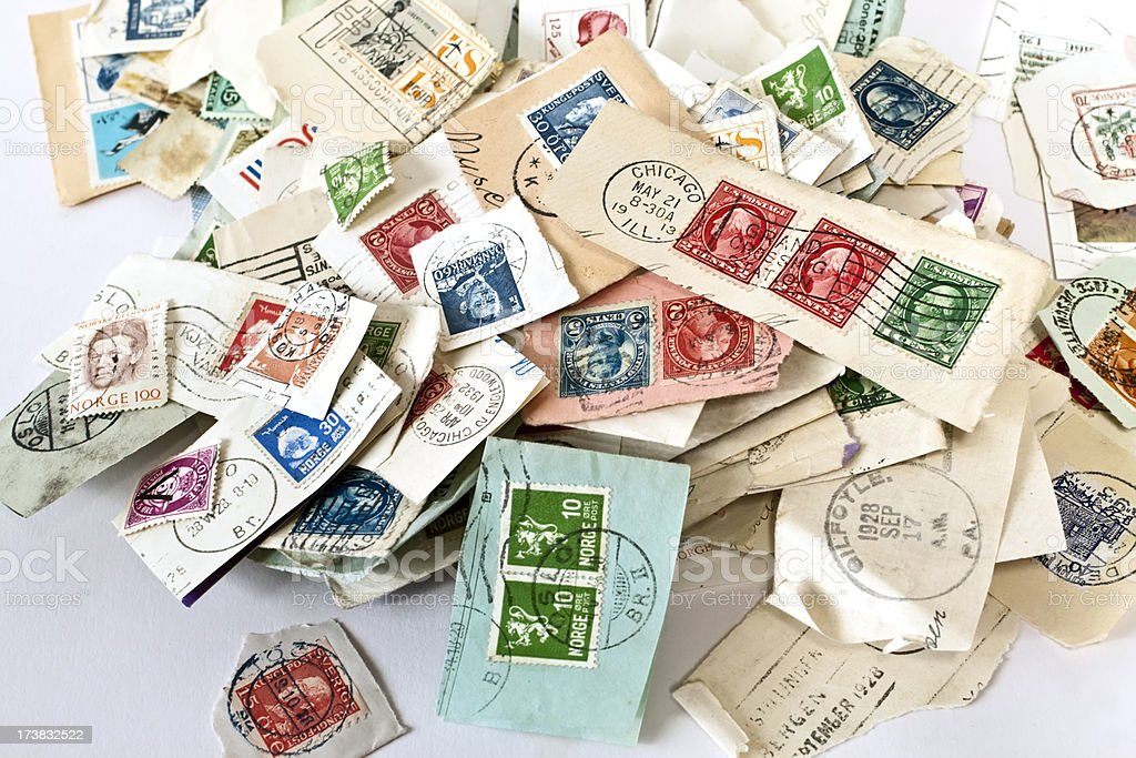 Stamps in a pile. royalty-free stock photo