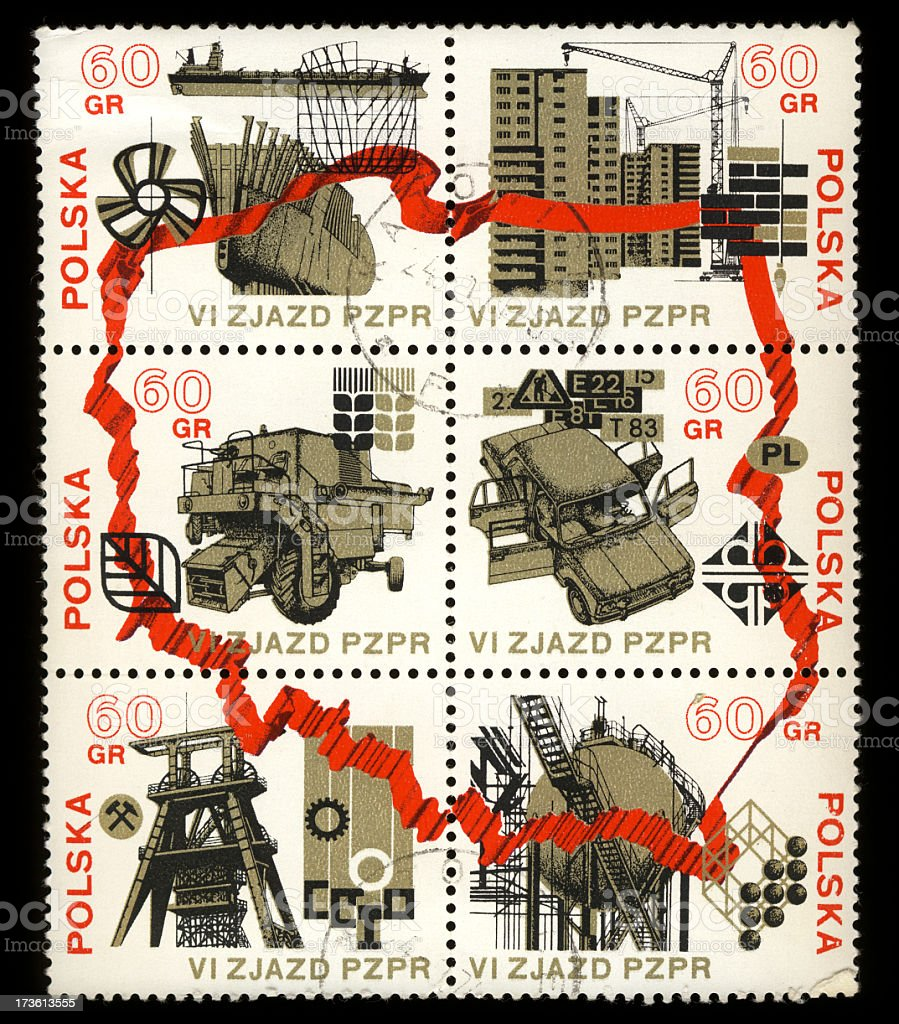 Stamps of Polish Industry royalty-free stock photo