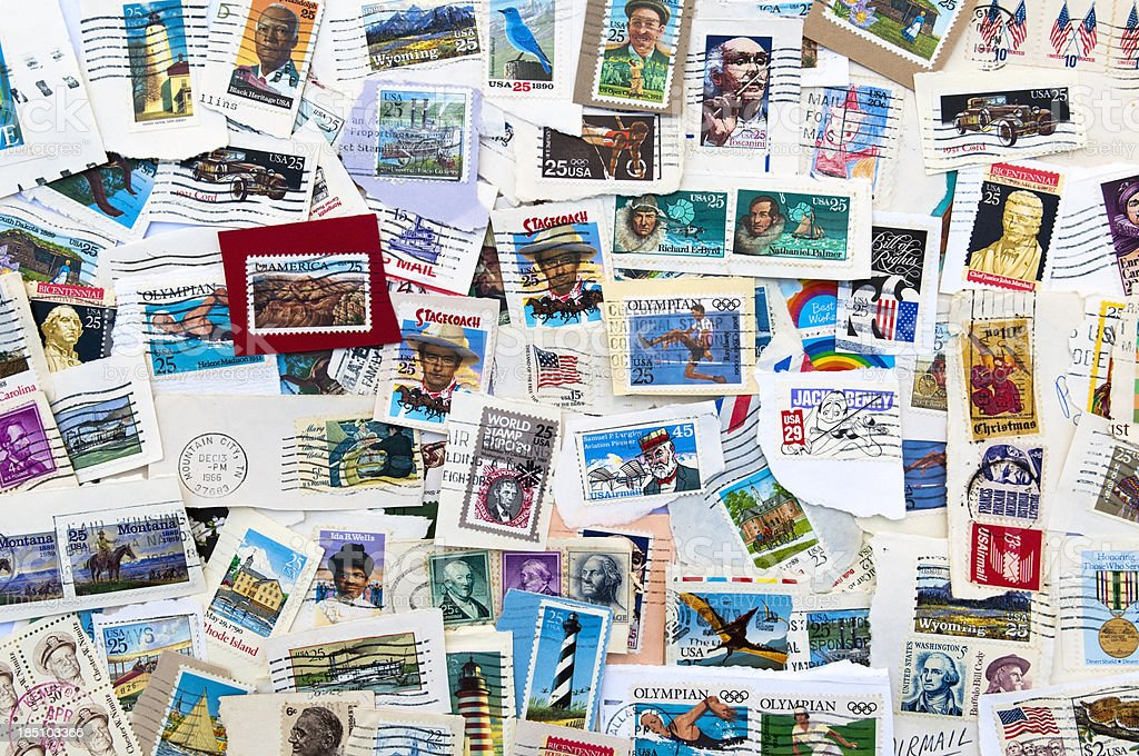 US stamps stock photo