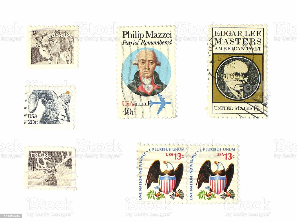Stamps: US vintage stock photo