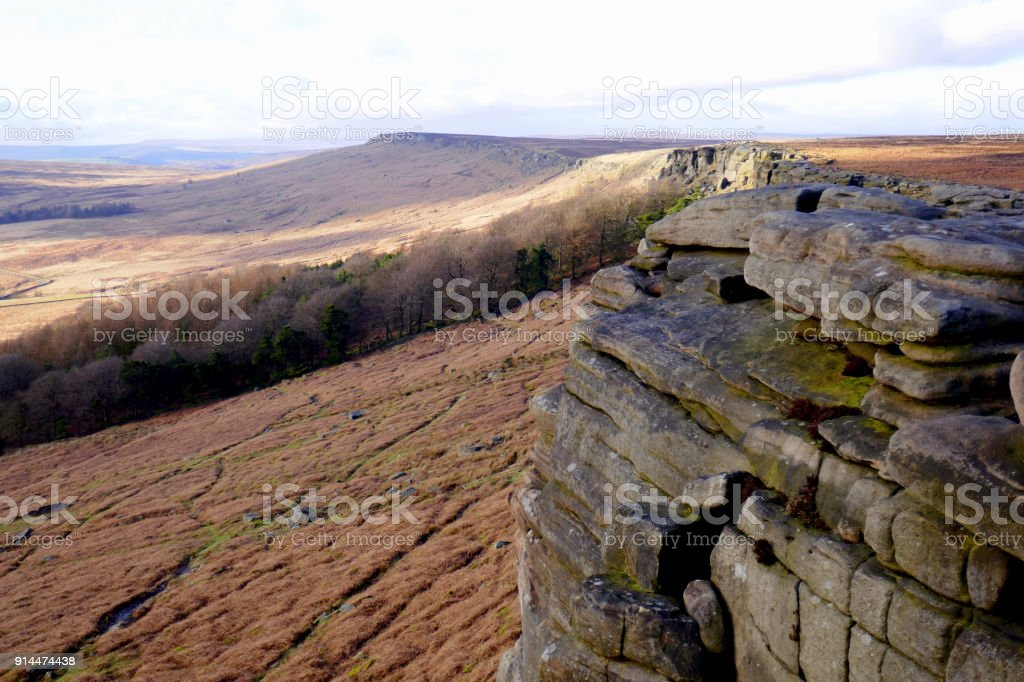 Stanage Edge, Derbyshire, UK. stock photo
