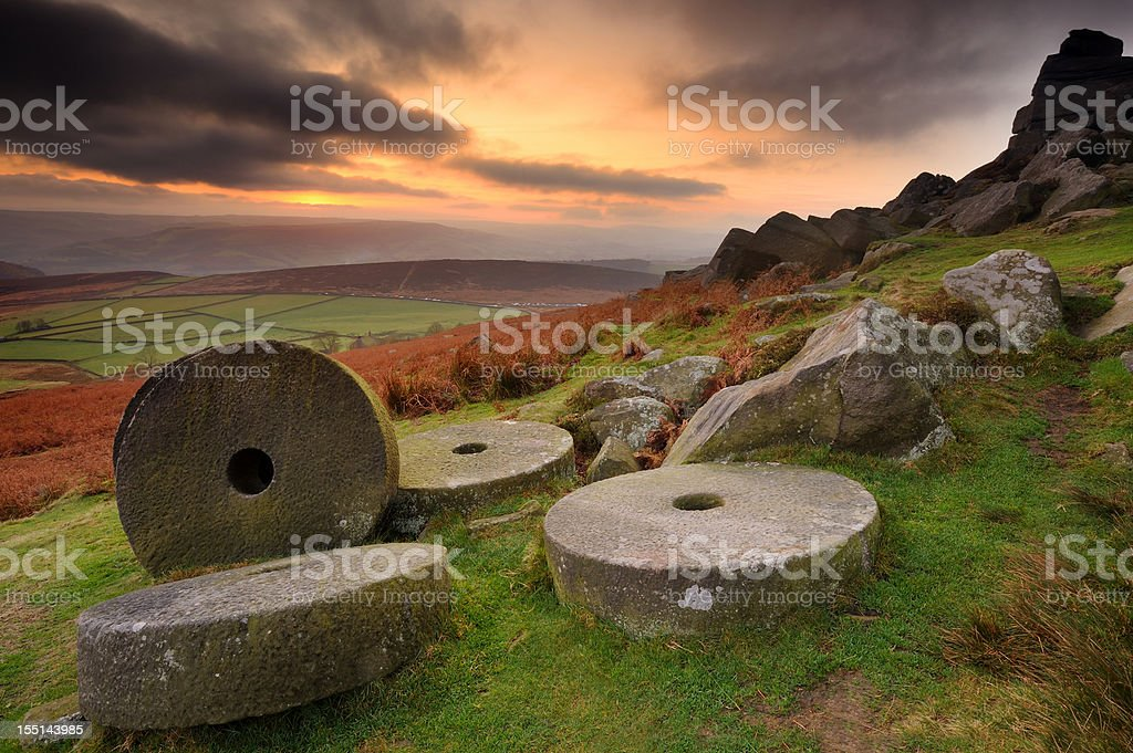 Stanage Edge Millstones, Peak District stock photo