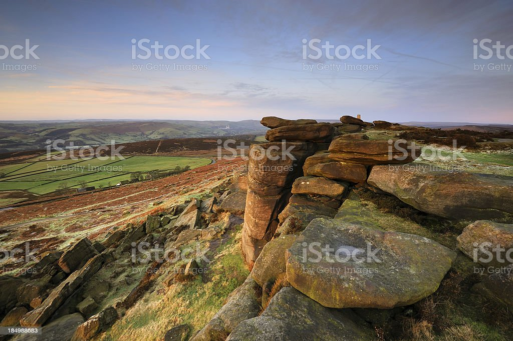 Stanage Edge Rocks, Peak District stock photo