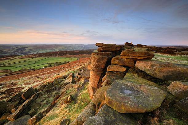 """Stanage Edge Rocks, Peak District """"Looking along the iconic Stanage Edge in The Peak District National Park, taken shortly after sunrise on a cold winter day. XL image size.Please see more Peak District images in my lightbox below"""" outcrop stock pictures, royalty-free photos & images"""