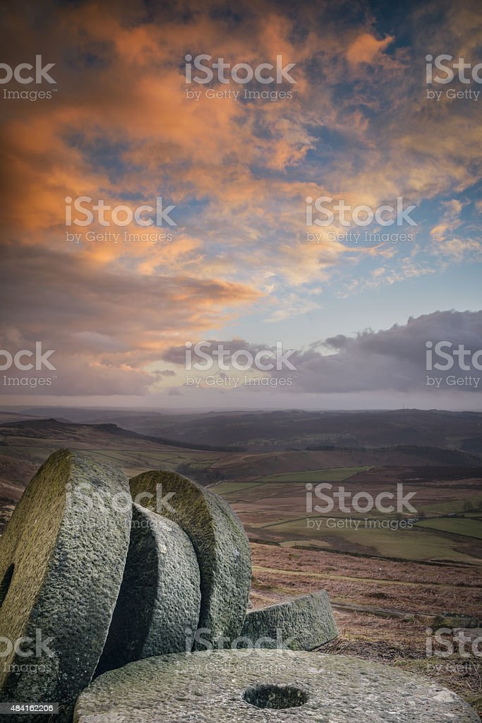Stanage Sunset stock photo