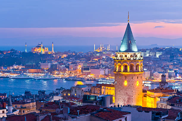 İstanbul Turkey Galata tower and bosphorus in İstanbul Turkey. bosphorus stock pictures, royalty-free photos & images