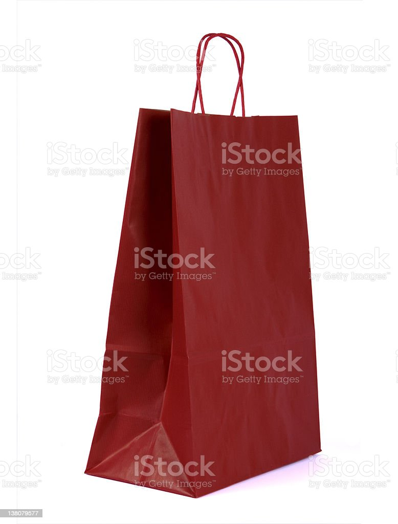 Stand alone red paper gift bag royalty-free stock photo