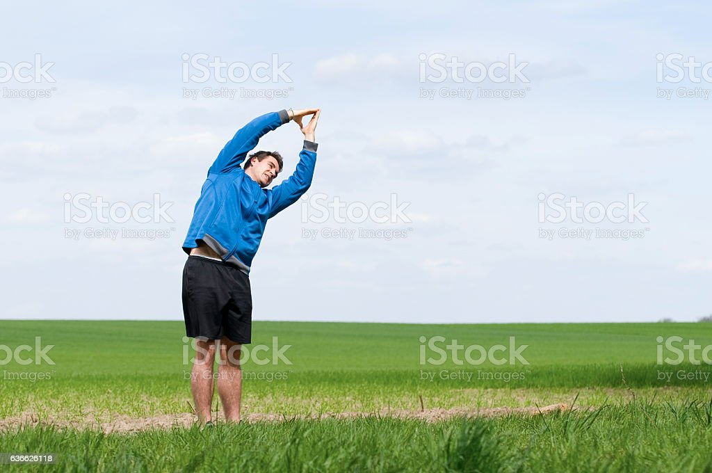 stand andt stretch_horizontal stock photo