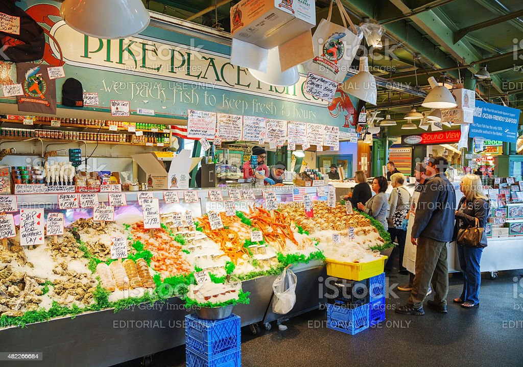 Stand at famous Pike Place market in Seattle stock photo