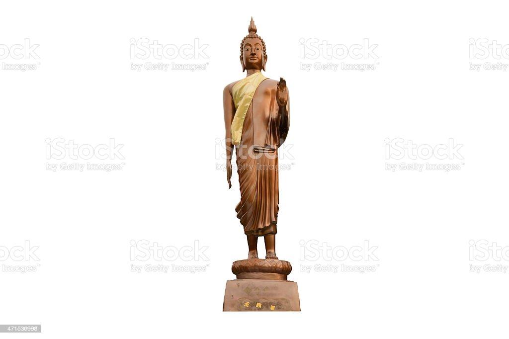 Stand Buddha image isolated on white background. stock photo