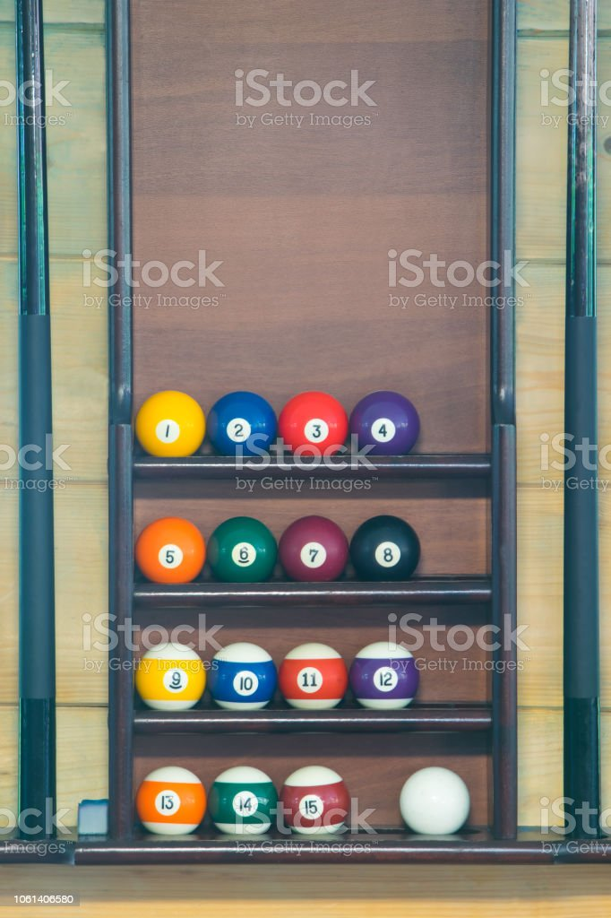 stand for billiard balls arranged in order, background - fotografia de stock