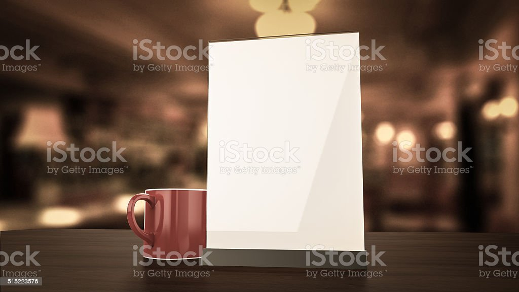 Stand for booklets white sheets of paper acrylic table tent stock photo