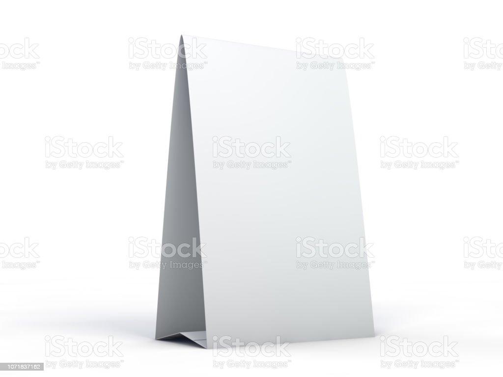 Soporte para folletos con hojas blancas de papel. Maqueta. 3D foto de stock libre de derechos