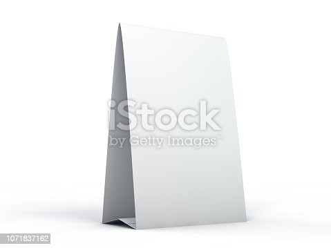 istock Stand for booklets with white sheets of paper. Mockup. 3D 1071837162