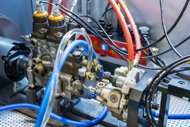 Stand for checking and adjusting injection pump stock photo