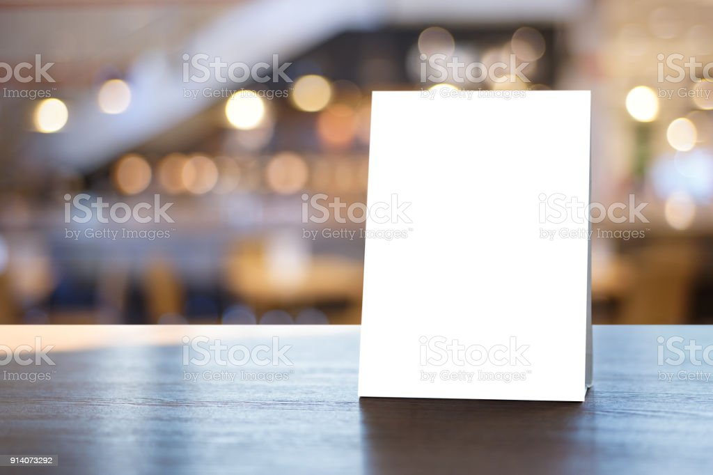 Stand  Mock up Menu frame  tent card  blurred background  design key visual layout. stock photo