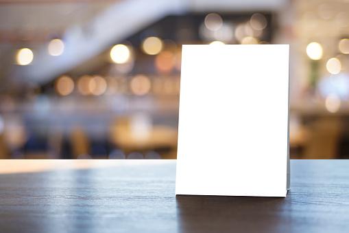 stand mock up menu frame tent card blurred background