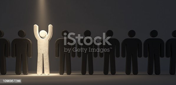 Stand out from the crowd and different concept 3d render 3d illustration