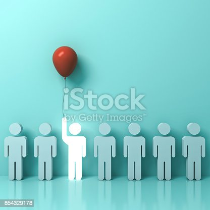 807463794istockphoto Stand out from the crowd and different concept , One glowing light man raising his hand with red balloon among other people on light green pastel background with reflection and shadows . 3D rendering 854329178